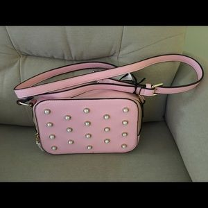 NWT pink pearl studded camera Crossbody
